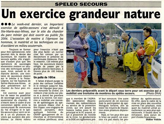 2005 09 14 DNA Exercice grandeur nature