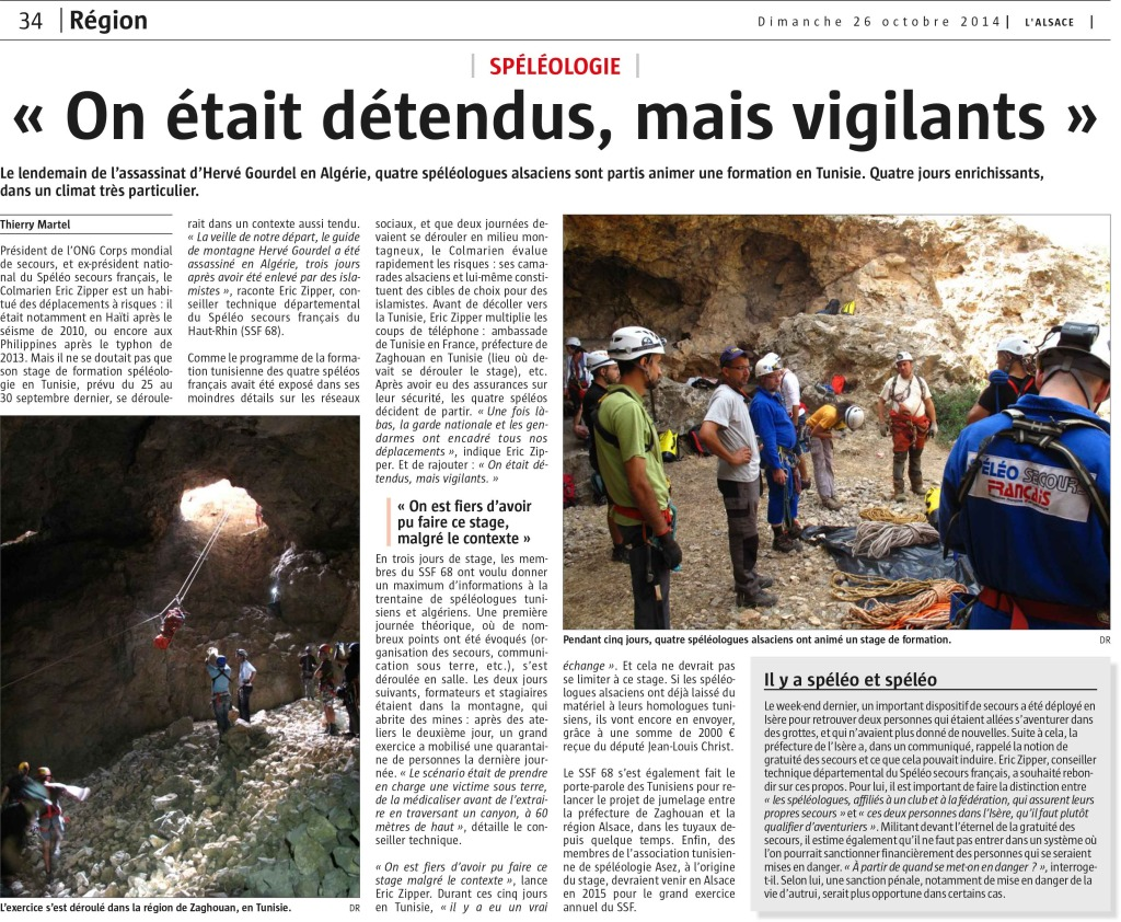 Stage secours Tunisie - L'Alsace - 10/2014
